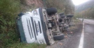 Kamyon Devrildi, Sürücü Kazayı Hafif Sıyrıklarla Atlattı